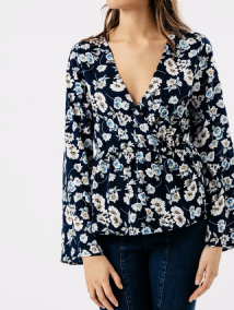 NAVY FLORAL FLUTE SLEEVE WRAP SHIRT TOP SIZES 8, 10, 12, 14